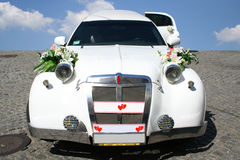 Just married limousine Royalty Free Stock Image