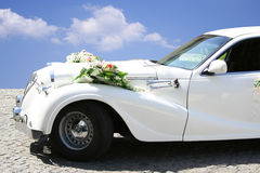 Just married limousine Stock Photo