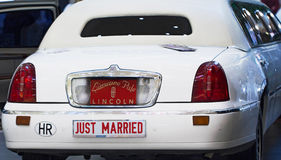 Just Married limousine Royalty Free Stock Photo
