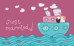Just married love boat royalty free stock photos