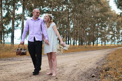 Just married lovers walking in a field in autumn day Royalty Free Stock Images