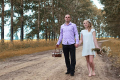 Just married lovers walking in a field in autumn day Royalty Free Stock Photos