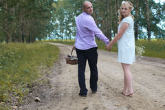 Just married lovers walking in a field in autumn day Royalty Free Stock Image