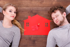 Just married lying on floor. Royalty Free Stock Images