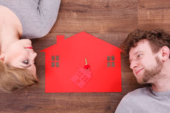 Just married lying on floor. Royalty Free Stock Photos