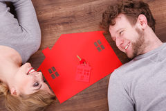 Just married lying on floor. Stock Photo