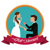 Just married man proposing woman label Stock Images