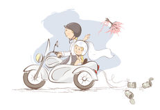 Just married on a motorcycle. Vector illustration, card -- bride throws the bouquet Stock Image