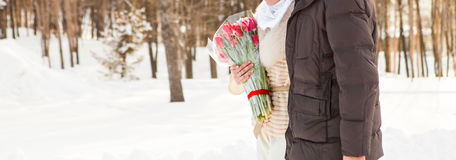Just married muslim couple in winter nature Stock Photo