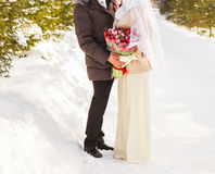 Just married muslim couple in winter nature Royalty Free Stock Images