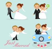 Just groom bride newlyweds married horse ceremony bike happy couple marriage cake dress white lift newly card party bridegroom Stock Images