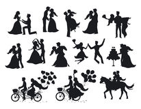 Just married , newlyweds, bride and groom  silhouettes set. Happy Couple celebrating marriage, dancing, kissing, hugging, holding each other in arms, cut cake Stock Image