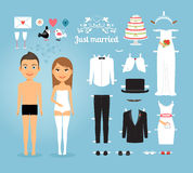 Just Married Paper Dolls with Set of Wedding Stuff. Cute Just Married Couple Paper Dolls with Set of Wedding Stuffs on Sky Blue Background Stock Images