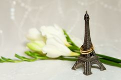 Just married in Paris. Two wedding rings with flowers, bridal veil and miniature Eiffel Tower Stock Photos