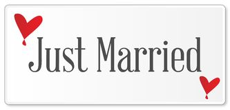 Just Married Plaque. A just married plaque in white over a white background with love cartoon hearts Stock Photo