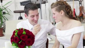 Just married portrait stock video footage