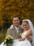 Just Married Portrait in Trees. Just married posing before yellow tree holding bride Royalty Free Stock Photos