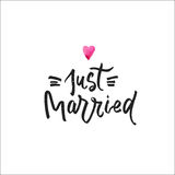 Just married postcard. Modern brush calligraphy isolated on white background. Stock Images