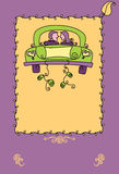 Just married poster. A artistic illustrated poster of a newly wed couple driving away after their marriage Stock Illustration