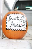 Just Married Pumpkin Stock Photos
