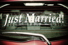 Just Married on Red Car Royalty Free Stock Photos