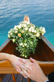 Just married, on a river boat Royalty Free Stock Photos