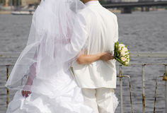 Just married and the river of hope Royalty Free Stock Photography