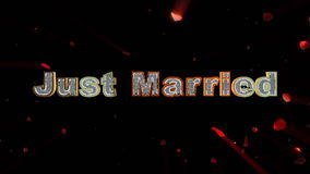 Just Married and rose heart exploding stock footage