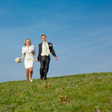 Just married  running along the field Royalty Free Stock Images