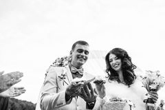 Just married share their first family meal during the ceremony Royalty Free Stock Photos