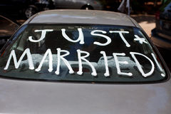Just married. Sign on back car stock photo