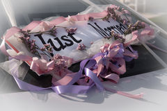 Just married sign. Beautiful decor of the car onthe wedding day. Just Married royalty free stock image