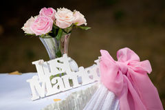 Just married sign. With bunch of roses and pink ribbon stock images