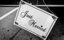 Just married sign couple Stock Images
