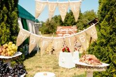 Just married sign festoon garland stock photos