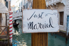 Just married sign. Romantic Just married sign in the canal in Venice Royalty Free Stock Image