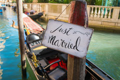 Just married sign. Romantic Just married sign in the canal in Venice Stock Images
