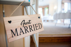 Just married sign Royalty Free Stock Image