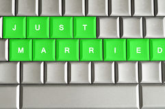 Just Married spelled on a metallic keyboard Stock Images