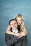 Just married, studio shot Royalty Free Stock Photo