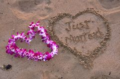 Just married surround by heart in the sand Royalty Free Stock Photography