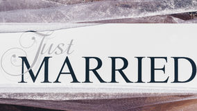 Just Married text on white background with flowers.  Stock Photo