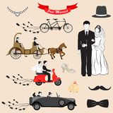 Just Married. Vector illustration of Just Married design set Royalty Free Stock Image