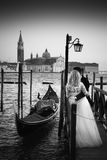 Just Married in Venice. Royalty Free Stock Photo