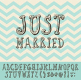 Just Married Vintage Trendy Illustration Font Type Stock Image