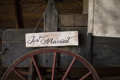 Just Married Wagon Royalty Free Stock Photography