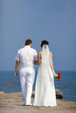 Just married walking along pier Stock Photography