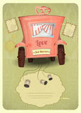 Just married. Wedding Card in Retro Style. Wedding Car. Place for Text. Illustration Stock Images