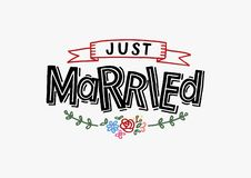 Just Married - Wedding greeting card, invitation, poster royalty free illustration