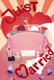 Just married wedding invitation card design. Eps10 vector format Royalty Free Stock Images